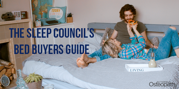 "A couple lying in bed sharing a slice of pizza. ""The Sleep Council's Bed Buyers Guide"" title of the post is written on the photo"